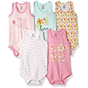 Luvable Friends Baby Infant 5-Pack Lightweight Sleeveless Bodysuits, Love, 9-12 Months
