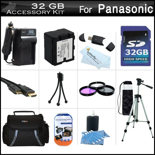 32GB Accessory Kit For HDC-TM900K 3 MOS 3D Compatible Camcorder Includes 32GB High Speed SD Memory Card + Replacement (1500Mah) VW-VBN130 Battery + Ac / DC Charger + Deluxe Case + Tripod + 3PC Filter Kit (UV-CPL-FLD) + Mini HDMI Cable + USB 2.0 Reader + by ButterflyPhoto