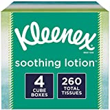 Kleenex Soothing Lotion Facial Tissues with Aloe & Vitamin E, Cube Box, 65 Tissues per Cube Box, 4 Pack (260 Tissues Total)