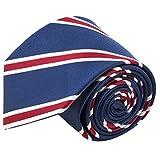 100% Silk Handmade Navy Blue & Red Striped Tie Men's Necktie by John William