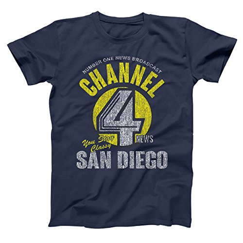 Channel 4 News Funny Anchor Channel San Diego Anchorman Cool Comedy Humor Mens Shirt XXXX-Large Navy