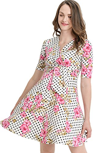 - Hello MIZ Flower Print V-Neck 3/4 Sleeve Baby Shower Front Tie Wrap Maternity Dress (Small, Ivory Dot Floral)