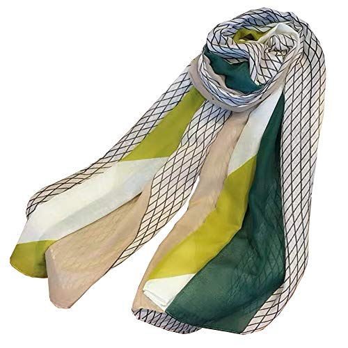 Women Cotton Long Scarf Lady's Summer Shawls Thin Soft Head Scarves Spring Woman's Wraps Autumn (Beige-Green)