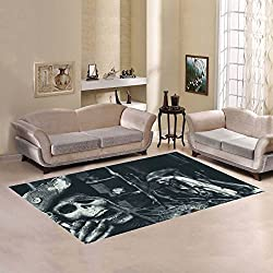 Love Nature Sweet Home Modern Collection Custom Two Skeleton Pirates Portrait Area Rug 7'x5' Indoor Soft Carpet