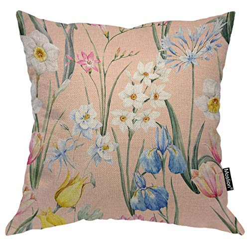 Moslion Floral Pillows Spring Tulip Flowers Narcissus Pink Freesia Blue Iris Aquilegia Leaf Throw Pillow Cover Decorative Pillow Case Square Cushion Accent Cotton Linen Home 18x18 Inch