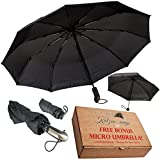 Compact Windproof Travel Umbrella -FREE Mini Black Umbrella- Katzendaügs 2pc Black