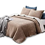 King Size Comforters on Sale KASENTEX Plush Poly Velvet Lavish Design Quilt Set with Reversible Shu Velveteen Sherpa - Luxurious Bedding Soft & Warm Comforter Machine Washable Comforter (Taupe Brown, Queen + 2 Shams)