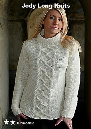 Knitting Pattern For Adult Womens Aran Wool Jumper Pattern Number