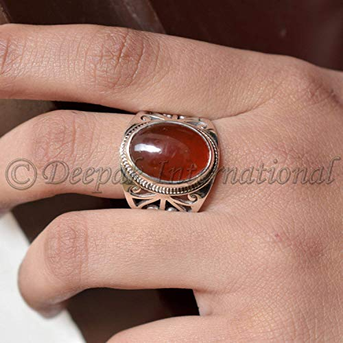 Baltic Amber Ring, Solid 925 Sterling Silver Ring, Beaded Ring, Bohemian Ring, Big Ring, Man's Ring, Fashionable Ring, Statement Ring Handmade Ring, College Graduation Gift Ring (Amber Mens Ring)