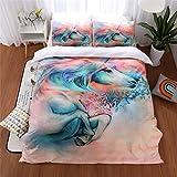 Meeting Story 3PCS Animals Unicorn Printed Duvet Cover Set, Microfiber Bedding Set (Queen, Unicorn)