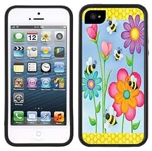 Bees Flowers Daisies Handmade iPhone 5 Black Bumper Plastic Case
