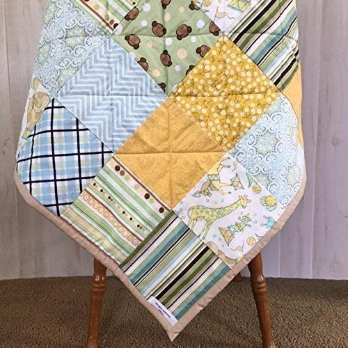 Shower Baby Patchwork - Gender Neutral Baby Quilt for Newborn Gift or Shower Present with Giraffes and Monkeys