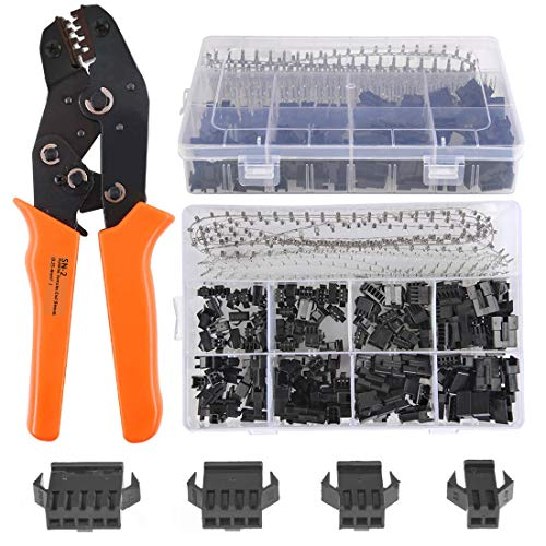 QLOUNI 560Pcs 2.54mm Pitch 2 3 4 5 Pin with SN-2 Crimping Tools Dupont JST SM 2 3 4 5 Pin Male/Female Plug Housing Male/Female Pin Header Crimp Terminals Connector Kit