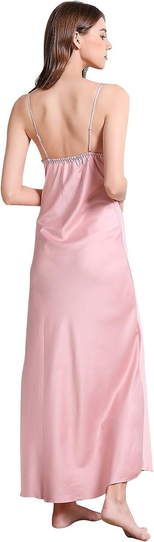 YAOMEI Damen Satin Lang Nachthemd Negliee Sleepshirt Schlafanzug Ladies Nachtw/äsche Nachtkleid Lingerie Pyjamas Sleepwear