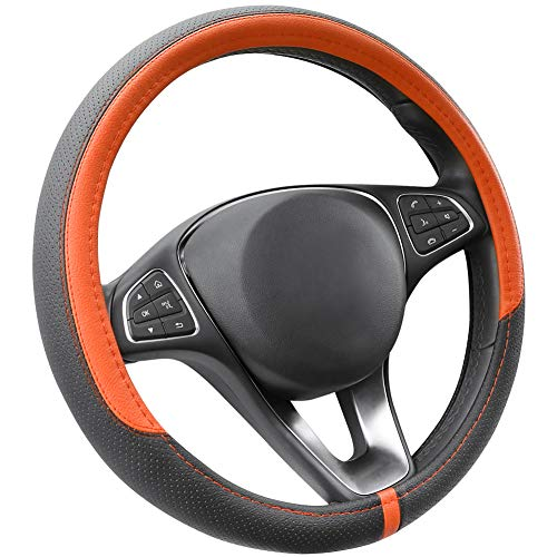 (COFIT Breathable and Non Slip Microfiber Leather Steering Wheel Cover Universal 15 Inch - Orange and Black)