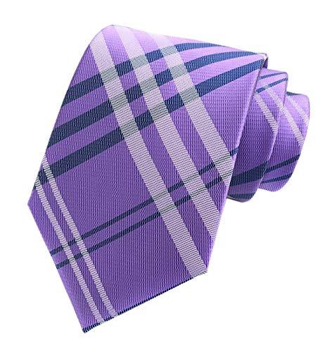 Black Necktie Background (Lilac Purple Navy Gingham Seft Tie Woven Narrow Party Cool Necktie 3.15