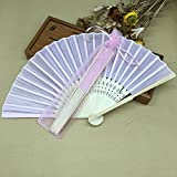 Pink 50Pcs/Lot Printed Fan In Elegant Bags Cloth Folding Hand Fan Wedding Gifts For Guests