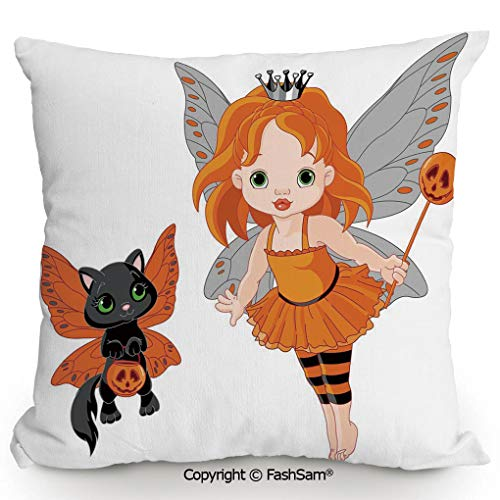 Decorative Throw Pillow Cover Halloween Baby Fairy and Her Cat in Costumes Butterflies Girls Kids Room Decor Decorative for Pillow Cover for Living Room(24