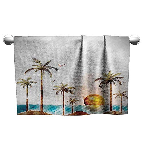 Island Style Sushi Set - Floral Hand Towels Hawaiian,Watercolor Style Tropical Island with Coconut Trees and Birds Sunset Art Print,Green Brown,Suction Towel bar for Shower