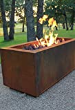 "Rectangular Cor-Ten Steel Glass Media Fire Pit with 36"" Stainless Steel H Burner for Propane Gas"