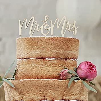 Cake Topper Mr Mrs Holz Amazon De Spielzeug