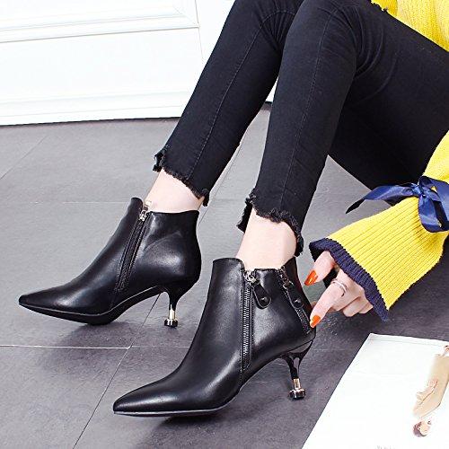 KHSKX-Una Hembra Con Algodón Fino Acolchado Calzado Con Botas Botas Zapatos De Cuero Y La Cachemira Todos Match Winter Boot black