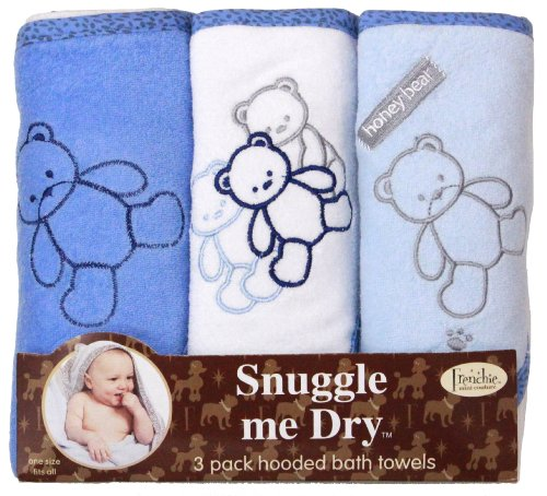 Frenchie Mini Couture Ours capuche Serviette Set, Pack 3, Garçon