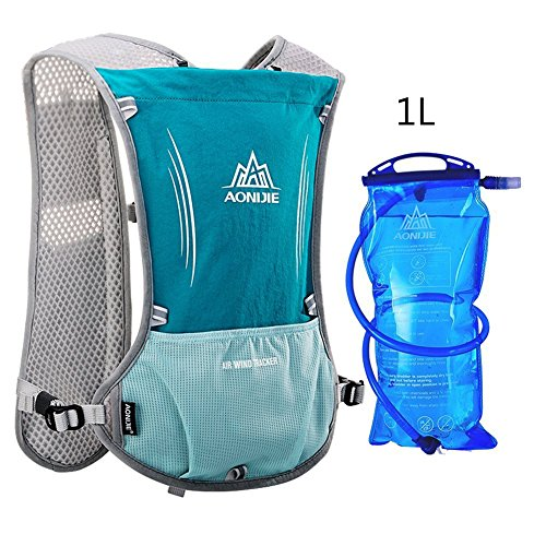 AONIJIE Running Hydration Pack Backpack with 1L Water Bladder Running Vest Women Hydration Backpack Waterproof Tactical Cycling Hydration Pack 5L (LightBlue-1L)