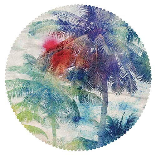 iPrint Cool Round Tablecloth [ Palm Tree Decor,Retro Watercolor Silhouettes of Palm Trees Stains on Tropical Paradise Theme,Multi ] Fabric Kids Home Tablecloth Designs