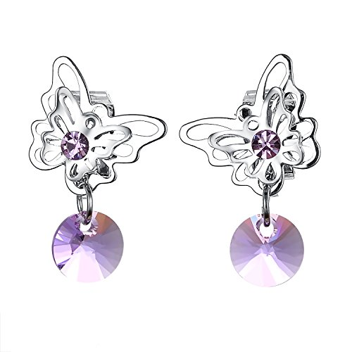 s For Women Dangle Faux Amethyst Butterfly Clip-on Earrings… (Butterfly Faux Earrings)