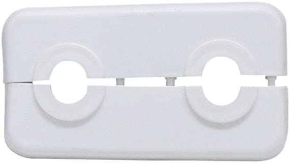sanicomfort 1807358 Doppel-Klapprosette weiß 15 mm, 50mm Rohrabstand
