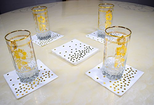 TROLIR Cocktail Napkins, White with Gold Dots, 3-ply, Pack of 50 Disposable Paper Napkins 4.9x4.9 inch Stamped with Sparkly Gold Foil Dots, Ideal for Wedding, Party, Birthday, Dinner, Lunch, Cocktail by TROLIR (Image #4)