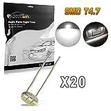gm fog light kit - Partsam 20Pcs 4.7mm-12v Car White Mini Bulbs Lamps Indicator Cluster Speedometer Backlight Lighting For GM GMC