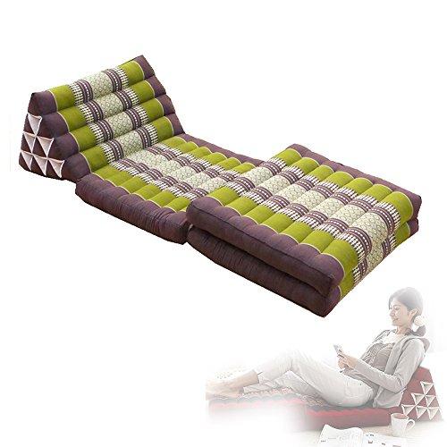 Thai Triangle Kapok Cushion Organic Pillows Floor Lounger lazy sofa chair (L, Green) by Thai OTOP
