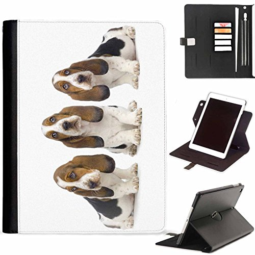 Hairyworm - Basset hounds sat in a row Apple iPad Mini 4 lea