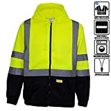 New York Hi-Viz Workwear H9012 Men's ANSI Class 3 High Visibility Class 3 Sweatshirt, Full Zip Hooded, Lightweight, Black Bottom (Large)
