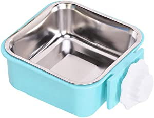POPETPOP Cat Dog Food Water Bowls, Square Pet Fixed Hanging Feeder, Stainless Steel Removable Cage Feeding Bowl for Rabbit Hamster Chinchillas Guinea Pig