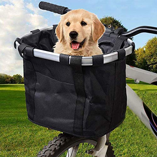 LIFAVOVY Bicycle Basket Folding Detachable Cycling Bag Easy Install Quick Released Pet Cat Dog Carrier Front Removable Bicycle Handlebar Basket Multi Purpose Black Bike Basket Carrier Picnic Shopping