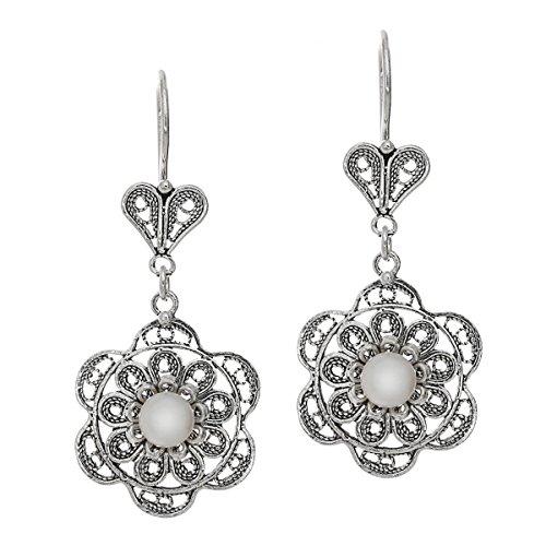 (925 Sterling Silver & Freshwater Cultured Pearl Filigree Dangle Flower Earrings )