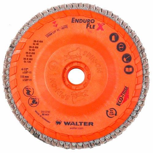 Walter Enduro-Flex Flap Disc, 4-1/2'' diameter, 80 grit, Type 29, 5/8''-11 Thread Size, Trimmable wood fiber Backing, Zirconia Alumina (Pack of 10)