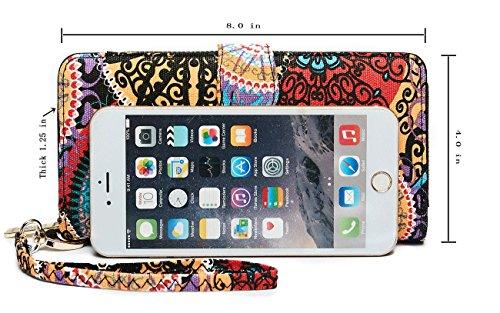 LOVESHE RFID Blocking Bohemian style Wristlet Clutch Wallet For Women