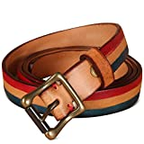 Women's Genuine Leather Belts With Brass Buckle For Dresses And Jeans For Men/Women/Junior Elegant Gift Box