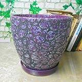 Ceramic Home/ Garden Modern Fashion Beautiful Elegant Round Flower Planter Pot with Saucer/ Tray Large---Outside Pebble Design