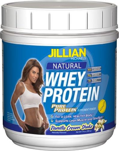 Jillian Michaels Natural Whey Protein, Pure Protein  , Vanilla Cream Shake, 14 Ounce