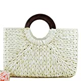 Straw Rattan Women Tote Summer Beach Handbag Picnic Basket Natural Khaki Bag Medium Size 15.5'x15' US Seller (White)
