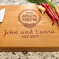 Rope Home Coordinates Personalized Chopping Block 12x15x1.75 - Engraved Cutting Board, Custom Cutting Board, Wedding Gift, Housewarming Gift, Anniversary Gift, Engagement W-046GB