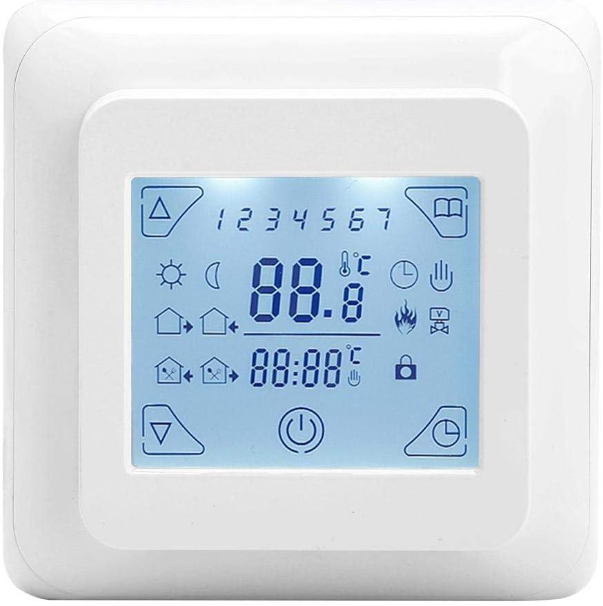 Zerodis W/öchentlich Programmierbarer Touchscreen Thermostat mit Fu/ßbodenheizung und gro/ßem LCD Display