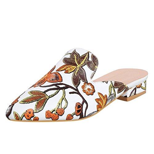 Mee Shoes Women's Charm Slip On Low Block Heel Pointed Toe Mules Brown