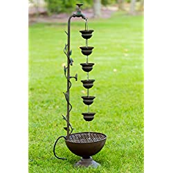 Alpine MAZ254 6 Hanging Cup Tier Layered Floor Fountain, 36""