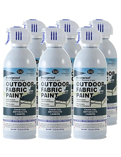 Simply Spray Outdoor Waterproof Fabric Spray Paint 13.3 Oz. Can 6 Pack Charcoal